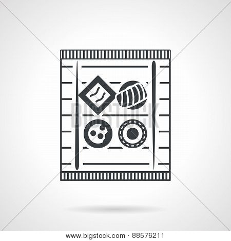 Sushi tray black vector icon