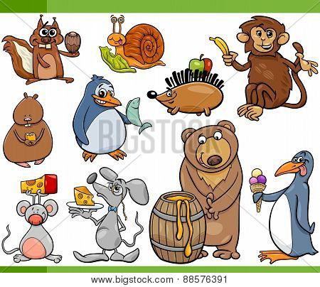 Animals And Food Cartoon Set