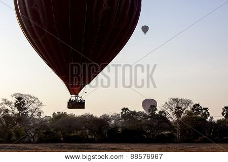Balloon Over Bagan In Misty Morning, Myanmar