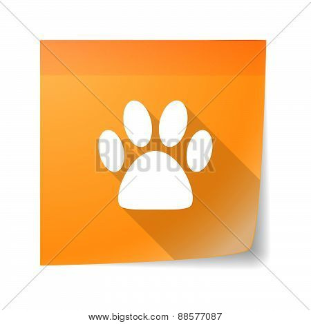 Sticky Note Icon With An Animal Footprint