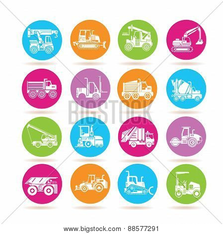 trucks, heavy construction machine icons