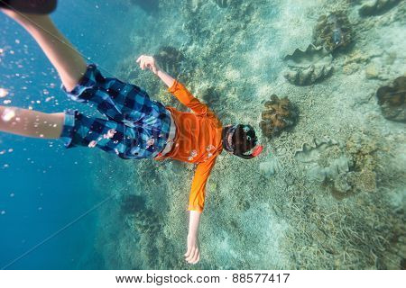 Cute teenage boy swimming underwater in a clear tropical water at coral reef with giant clams