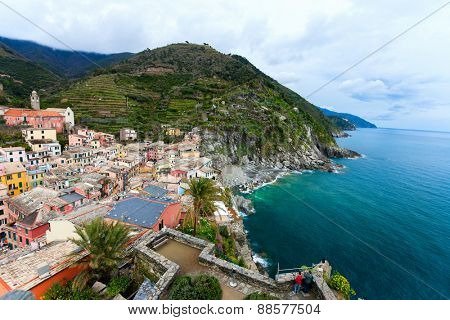 Scenic view of colorful village Vernazza, Cinque Terre, Italy