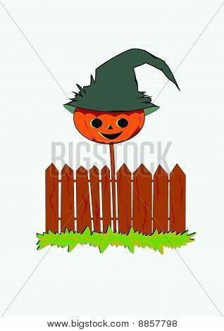 Pumpkin On A Fence