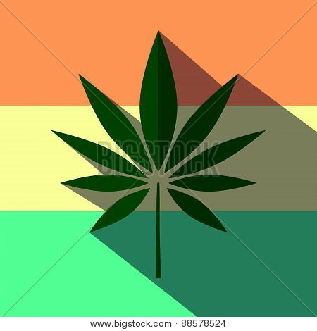 Illustration of a marijuana  long shadow icon
