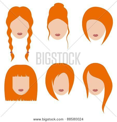 Vector Illustration Of Beautiful Girls With Red Hair.part 2