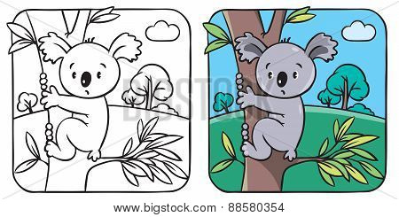 Coloring book with funny koala