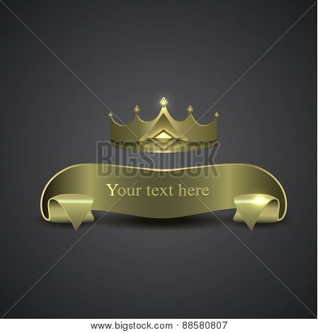 decorative shiny banner, crown logo.