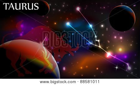 Taurus - Space Scene with Astrological Sign and copy space