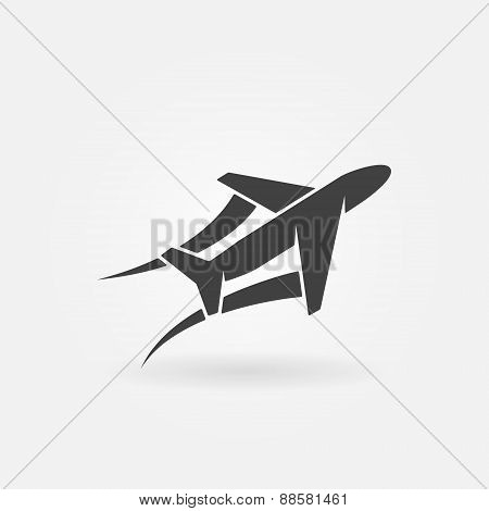 Airplane or plane vector icon
