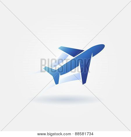 Plane takeoff blue vector logo