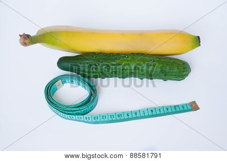 Cucumber And Banana With A Ruler