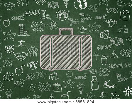 Travel concept: Bag on School Board background