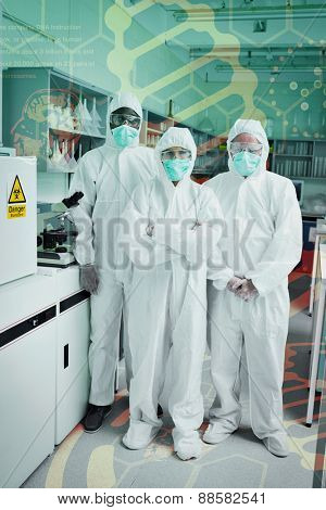 Science and medical graphic against team of chemists in protective suits