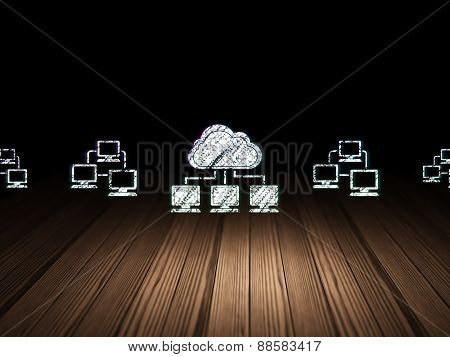 Cloud networking concept: cloud network icon in grunge dark room