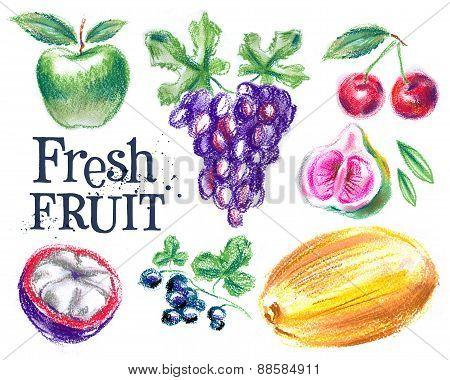 fresh fruit on a white background. food