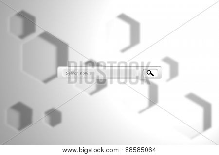 Search engine against white hexagon design