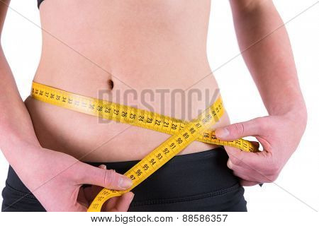 slim woman measuring waist with tape measure on white background