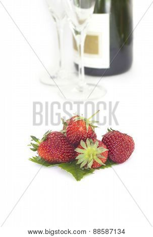 Romantic still life with champagne and strawberry