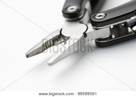 Close up of a multitool pliers.
