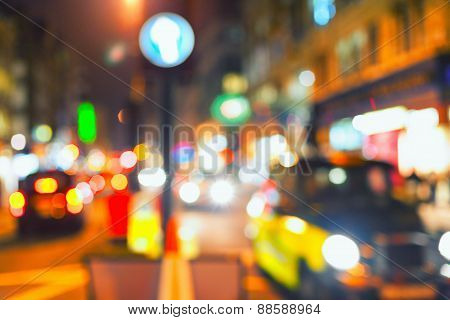 Lights And Colors Of The Big City At Night