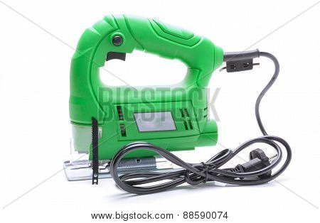 Electrical jig saw isolated on white background