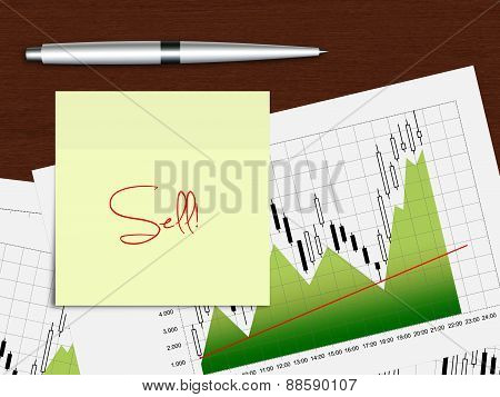 Candlestick Chart With Recommendation Note Lying On Wooden Desk