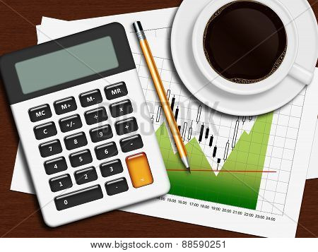 Financial Chart, Calculator And Pencil Lying On Wooden Desk In Office