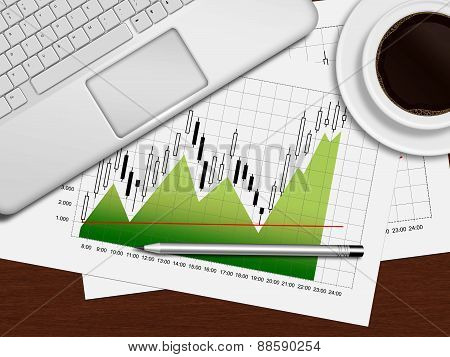 Financial Chart, Laptop And Coffee Lying On Desk In Office