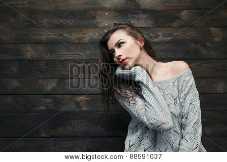 Beautiful Emotional Girl Posing At The Camera