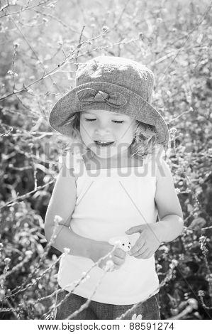 Happy Toddler Girl In Rape Field