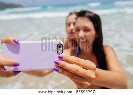 Happy Gilrls Selfie On Beach