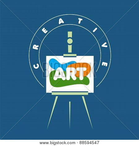 Vector Logo Creative Easel For Art