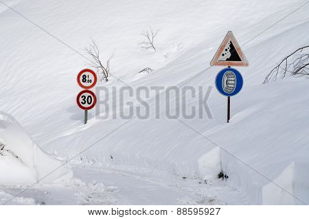 Road Sign On A Mountain Road