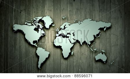 Conceptual image with world map on wooden wall
