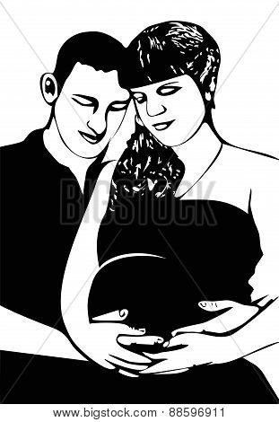 Prospective parents are waiting for baby black and white