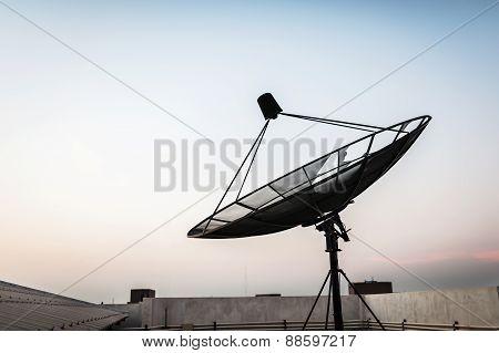 Radar in blue sky sunlight