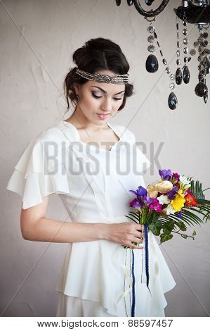 Beautiful Bride With Colorful Wedding Bouquet