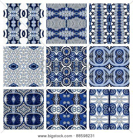 set of blue different seamless colored vintage geometric pattern