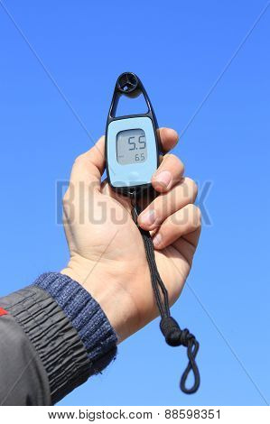 Anemometer In The Hand