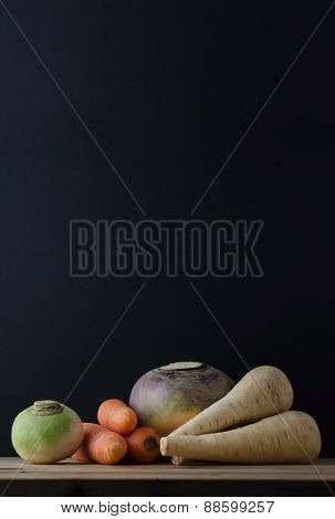 Root Vegetables Still Life Table Arrangement