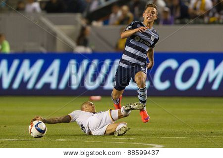 CARSON, CA. - APR 18: Rafael Garcia & Krisztian Nemeth in action during the L.A. Galaxy game against Sporting Kansas City on April 18, 2015 at the StubHub Center in Carson, California.