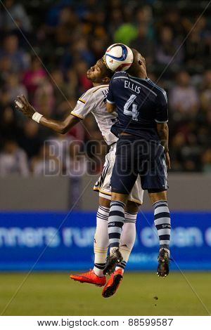 CARSON, CA. - APR 18: Bradford Jamieson & Kevin Ellis in action during the L.A. Galaxy game against Sporting Kansas City on April 18, 2015 at the StubHub Center in Carson, California.