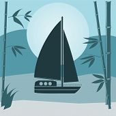 picture of sails  - illustration of a sailing vessel craft - JPG
