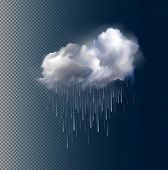 picture of rain cloud  - Very realistic vector cloud and rain - JPG