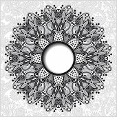 stock photo of doilies  - grey floral round pattern in Ukrainian oriental ethnic style for your greeting card or invitation - JPG