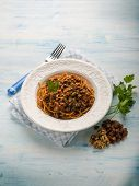pic of hungarian  - spaghetti with tomato nuts and dried grape - JPG