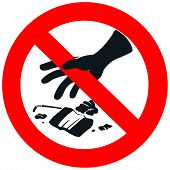 image of outlaw  - no litter sign in white isolated background - JPG