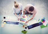 picture of workstation  - Brainstorming Planning Partnership Strategy Workstation Business Administration Concept - JPG