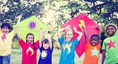 picture of bonding  - Children Playing Kite Happiness Bonding Friendship Concept - JPG